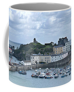 Coffee Mug featuring the photograph Tenby Harbour Pembrokeshire Panorama by Steve Purnell