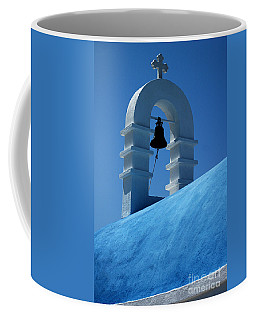 Coffee Mug featuring the photograph The Bell Tower In Mykonos by Vivian Christopher