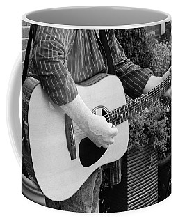 The Guitar Player In Black And White Coffee Mug