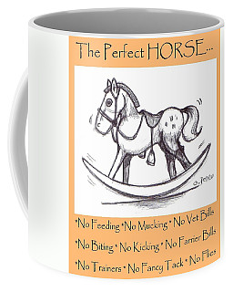 Coffee Mug featuring the drawing the Perfect Horse by George Pedro