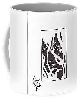 Coffee Mug featuring the drawing The Unkown Woman by Jeremiah Colley