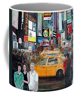 Coffee Mug featuring the painting Times Square by Anna Ruzsan