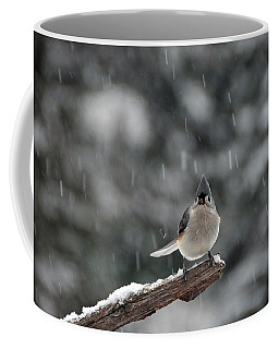 Coffee Mug featuring the photograph Titmouse Endures Snowstorm by Mike Martin
