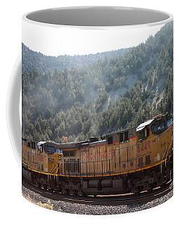 Train In Spanish Fork Canyon Coffee Mug by Pamela Walrath