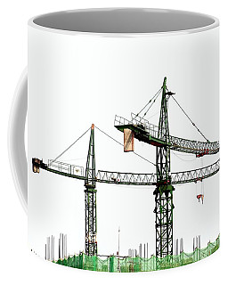 Coffee Mug featuring the photograph Two Cranes On A Construction Site by Yali Shi