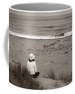 Watching The Ocean In Black And White Coffee Mug