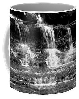 Waterfall Trio At Mcconnells Mill State Park In Black And White Coffee Mug