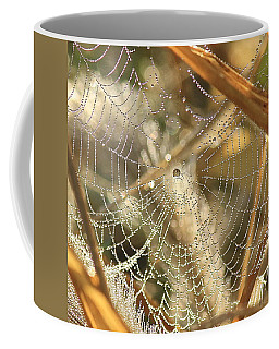Coffee Mug featuring the photograph Web Of Jewels by Penny Meyers
