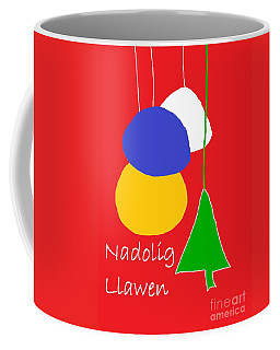 Coffee Mug featuring the digital art Welsh Christmas Card by Barbara Moignard