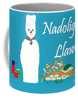 Coffee Mug featuring the digital art Welsh Snowman Chef by Barbara Moignard