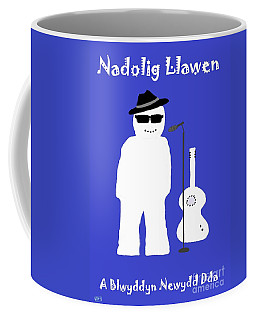 Coffee Mug featuring the digital art Welsh Snowman Musician by Barbara Moignard