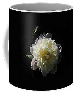 White On Black Peony Coffee Mug