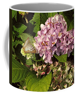 White Peacock On Hydrangea Coffee Mug