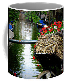 Wicker Bike Basket With Flowers Coffee Mug