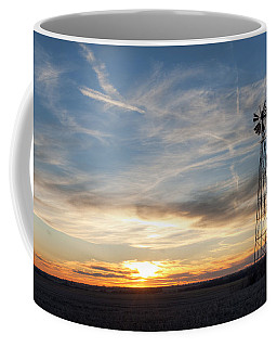 Coffee Mug featuring the photograph Windmill And Sunset by Art Whitton
