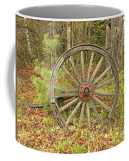 Coffee Mug featuring the photograph Wood Spoked Wheel by Sherman Perry