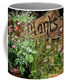 Wooden Plant Sign In Flowers Coffee Mug