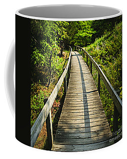 Wooden Walkway Through Forest Coffee Mug