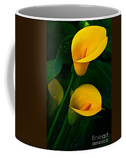 Yellow Calla Lilies Coffee Mug by Byron Varvarigos