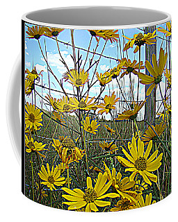 Coffee Mug featuring the photograph Yellow Flowers By The Roadside by Alice Gipson