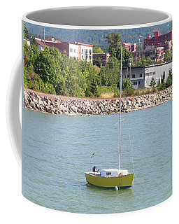 Coffee Mug featuring the photograph Yellow Sailboat At Bellingham Bay by Rand Swift
