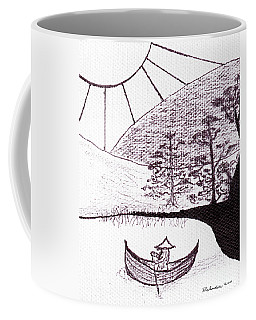Zen Sumi Asian Lake Fisherman Black Ink On White Canvas Coffee Mug