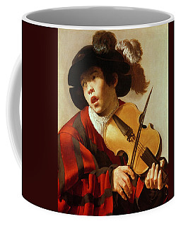 Boy Playing Stringed Instrument And Singing Coffee Mug