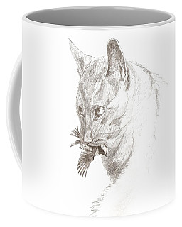 Cat And Chickadee Coffee Mug