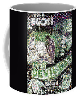 Coffee Mug featuring the mixed media  Devil Bat Movie Poster Horror Mosaic by Paul Van Scott
