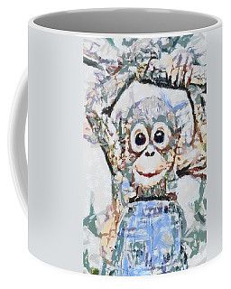 Coffee Mug featuring the digital art  Monkey Rainbow Splattered Fragmented Blue by Catherine Lott