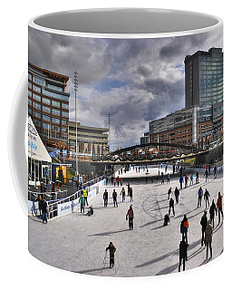 Coffee Mug featuring the photograph 01 Canalside Ice Skaters 10dec16 by Michael Frank Jr