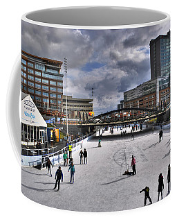 05 Canalside Ice Skaters 10dec16 Coffee Mug by Michael Frank Jr