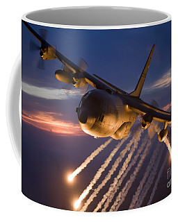 Coffee Mug featuring the photograph A C-130 Hercules Releases Flares by HIGH-G Productions