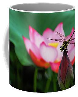 A Dragonfly On Lotus Flower Coffee Mug
