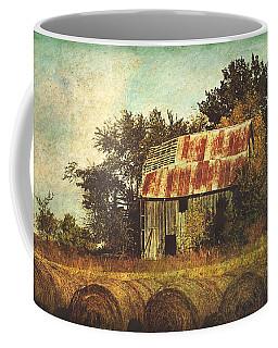 Abandoned Countryside Barn And Hay Rolls Coffee Mug