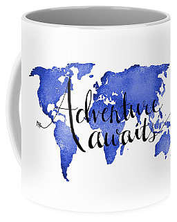 Adventure Awaits Blue Coffee Mug