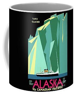 Coffee Mug featuring the mixed media Alaska Vintage Travel Poster Restored by Carsten Reisinger