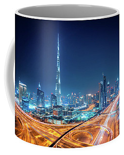 Amazing Night Dubai Downtown Skyline, Dubai, United Arab Emirates Coffee Mug