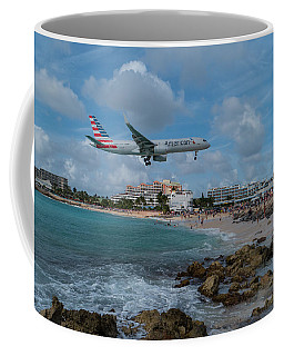 American Airlines Landing At St. Maarten Coffee Mug by David Gleeson