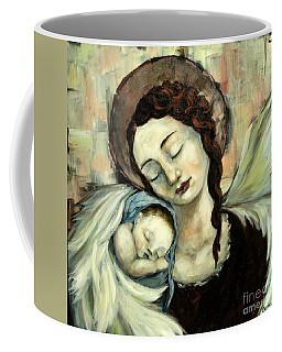 Angel And Baby Coffee Mug by Carrie Joy Byrnes