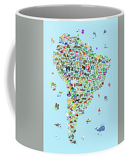 Animal Map Of South America For Children And Kids Coffee Mug