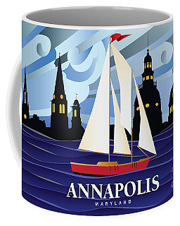 Annapolis Skyline Red Sail Boat Coffee Mug