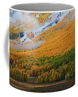 Coffee Mug featuring the photograph Aspen Trees And Snow by John De Bord
