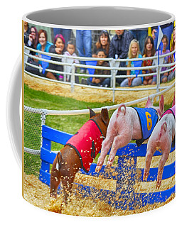 Coffee Mug featuring the photograph At The Pig Races by AJ Schibig