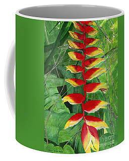 Coffee Mug featuring the painting Balinese Heliconia Rostrata by Melly Terpening
