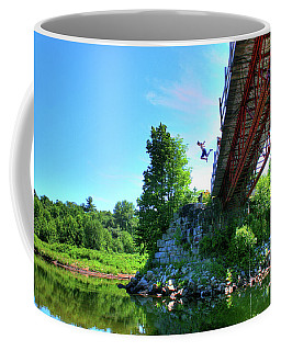 Coffee Mug featuring the photograph Beans Leap by Wayne King