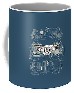 Bentley - 3 D Badge Over 1930 Bentley 4.5 Liter Blower Vintage Blueprint Coffee Mug