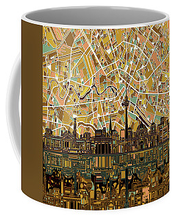 Berlin City Skyline Abstract Coffee Mug by Bekim Art