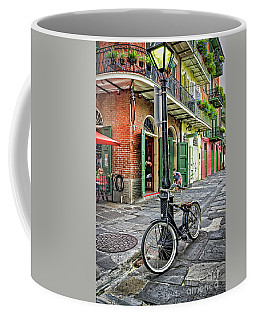 Bike And Lamppost In Pirate's Alley Coffee Mug by Kathleen K Parker