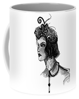 Coffee Mug featuring the mixed media Black And White Watercolor Fashion Illustration by Marian Voicu